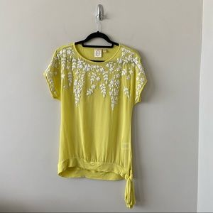 Anthro-Ric Rac Yellow Floral Embroidered Top